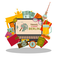 Travel planning to Berlin flat concept. Vector illustration.
