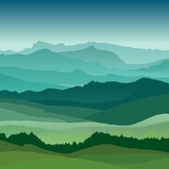 Flat landscape illustration. Beautiful hills, vector design