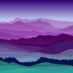 Flat night landscape illustration. Beautiful hills, vector design