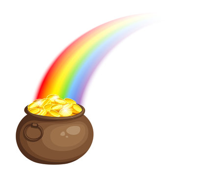 Vector St. Patrick's day illustration with leprechaun's pot of gold and rainbow isolated on a white background.