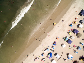 Top View of Umbrellas in a Beach