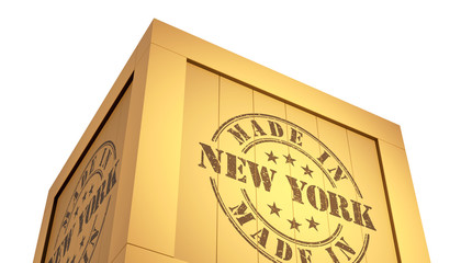 Import - Export Wooden Crate. Made in New York. 3D Illustration