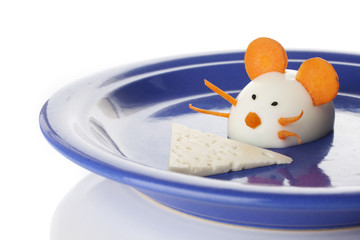 Food art creative concepts. Cute mouse over white background.
