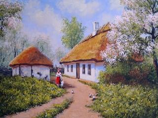 Oil paintings landscape,ukrainian village, spring