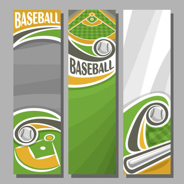 Vector Vertical Banners for Baseball 3 cartoon template for title text on baseball theme, green sports field with hitting bat flying ball, abstract vertical banner for advertising on grey background.