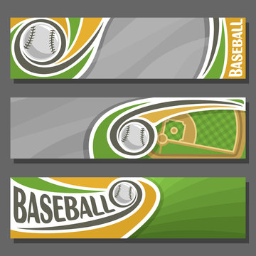 Vector horizontal Banners for Baseball: 3 cartoon covers for title text on baseball theme, sports field with diamond base and flying ball, abstract headers banner for advertising on grey background.