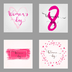 Greeting card - International Happy Women's Day. 8 March holiday background with lettering.