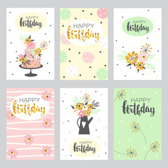 Set of greeting cards in pastel colors.