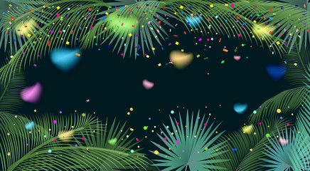 Confetti poster. Abstract background with colorful confetti, blurred hearts, bright sparkles, palm tree leaves frame. Vector illustration. Tropical, exotic palm tree leafs frame on black background.