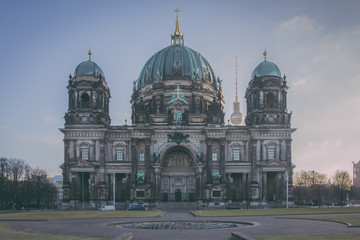 The Berlin Cathedral on the Museumsinsel in Berlin, Germany on a morning in February vintage...