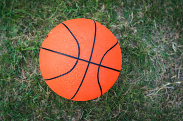 close up of basket ball on green meadow