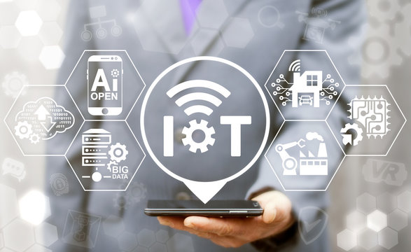Internet of things (IoT) industrial business smart devices wifi tech concept. Intelligence mobile control process, digital management, development industry 4.0 manufacturing engineering technology