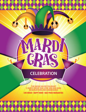 Festive Mardi Gras Carnival Marketing Background.  EPS 10 vector.