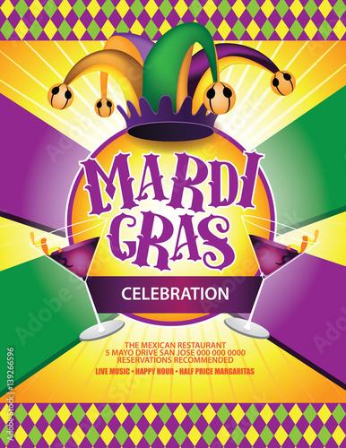 Festive Mardi Gras Carnival Marketing Background  EPS 10