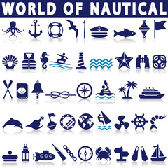 Set of nautical or naval icons