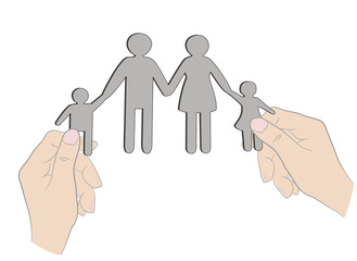 hands holding family silhouette cut out of paper. vector illustration.