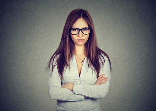 portrait angry displeased annoyed woman