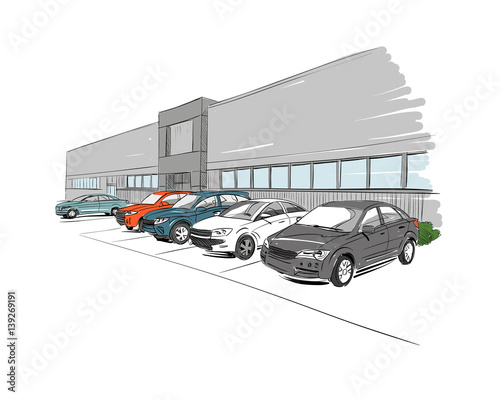 Car showroom exterior design sketch hand drawn vector for Car showroom exterior design