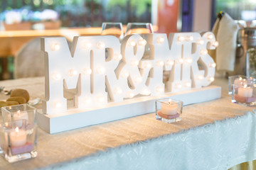 Beautiful wedding table with Mr. & Mrs.