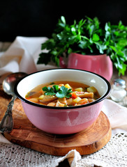 Delicious organic soup with chicken, beans, onions, tomatoes, mushrooms and parsley.
