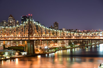 Ed Koch Queensboro Bridge view at night from Long Island City to Rooseveld Island