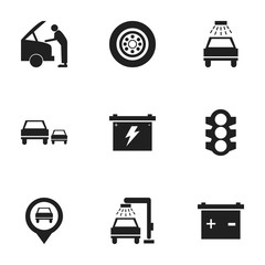 Set Of 9 Editable Transport Icons. Includes Symbols Such As Car Fixing, Race, Battery And More. Can Be Used For Web, Mobile, UI And Infographic Design.