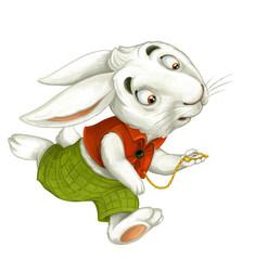 cartoon rabbit running hurry looking somewhere