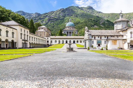 View of Shrine of Oropa, in the mountains of Biella, Piedmont Italy