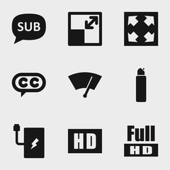 Set of 9 full filled icons