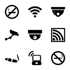 Set of 9 zone filled icons