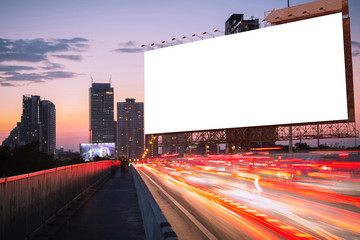 blank billboard on light trails, street, city and urban in the evening or twilight