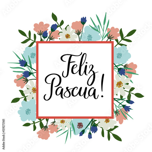 Quot happy easter in spanish modern calligraphy greeting card