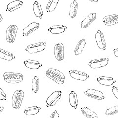 Hotdog Seamless Background in Black and White