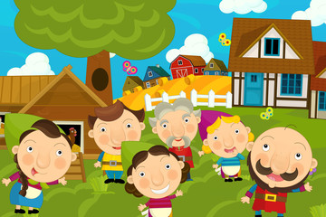 cartoon illustration of traditional farm village with happy farmers families