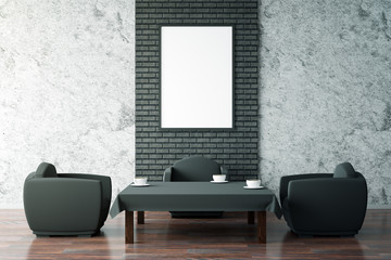 Black coffee table and blank frame