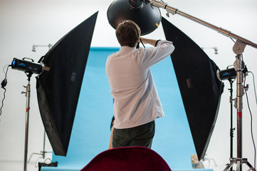 Backstage of a professional photoshoot