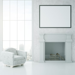 Clean interior with fireplace