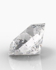 Large Clear Diamond with reflection on white background. 3d