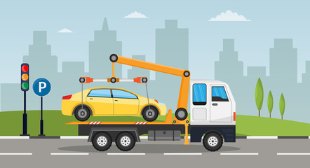 Tow truck city road assistance service evacuator of Online car help Flat design vector background illustration set