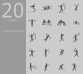 eps 10 vector set of summer sport icons. Silhouette sport signs collection. Indoor and outdoor activities, single and team sport included. Graphic illustration clip art for design, mobile, web, print
