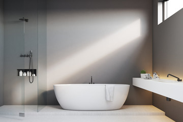 Luxury bathroom with gray walls and shower