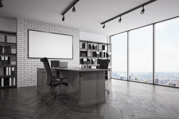 Loft CEO office with city view, corner