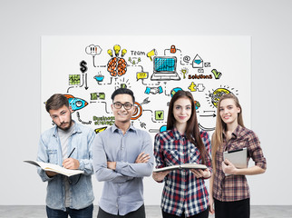 Young business team and startup poster
