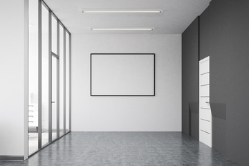 Office corridor interior with a poster