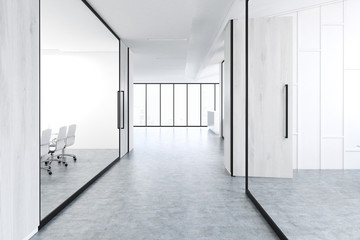 Office corridor with gray wood and glass