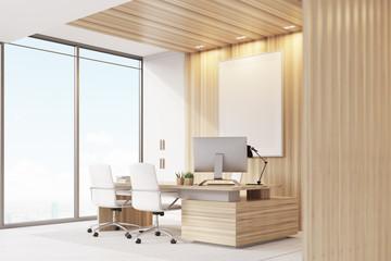 Elegant CEO room interior, poster, window