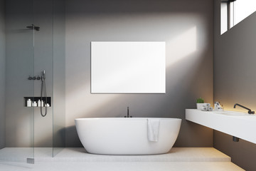 Luxury bathroom with gray walls and poster