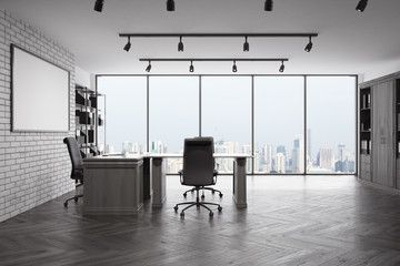Front view of loft CEO office with city view