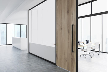 Office corridor with wood and glass, reception