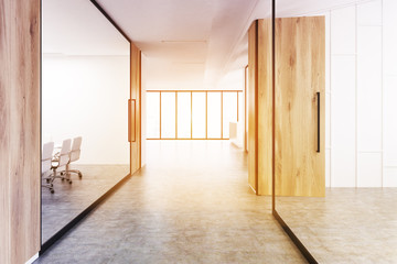Office corridor with wood and glass, toned